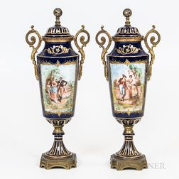 Pair of Sevres-style Hand-painted Porcelain Urns
