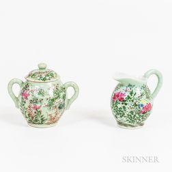 Chinese Export Celadon-glazed Porcelain Jug and Covered Sugar