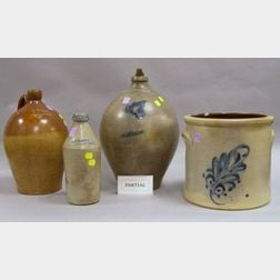 Eight Assorted Stoneware Crocks, Jugs, and Bottles