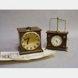 Unusual Oak Parabola Luminous Dial Alarm Clock and a Jerome & Co. Ignatz Shelf   Clock