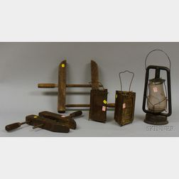 Dietz Metal Kerosene Lantern with Glass Shade, a Pair of Triangular Metal Lanterns with Mica Panels, and Two Wo...