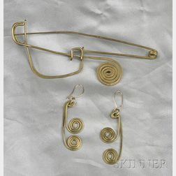 Brass Brooch and Earpendants, Claire Falkenstein
