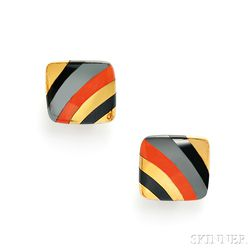 18kt Gold and Hardstone Earclips, Tiffany & Co.