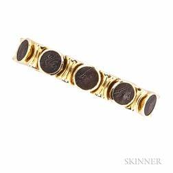 18kt Gold and Bronze Coin Bracelet