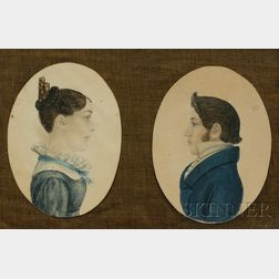 Pair of Profile Portrait Miniatures of a Man and a Woman