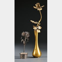 Two Sterling Models of Flowers in Vases by Janna Thomas