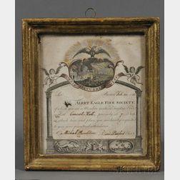 "Framed Engraved ""Alert Eagle Fire Society"" Member's Notice and Legend"