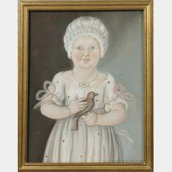 American School, Late 18th Century      Portrait of Mary Ann Elizabeth Thum of Philadelphia, Age Two, Holding a Bird.