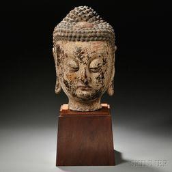 Large Wood Buddha Head