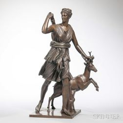 Barbedienne Bronze of Artemis with a Doe