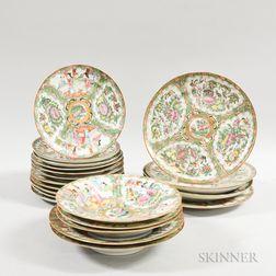 Twenty-two Rose Medallion Porcelain Plates