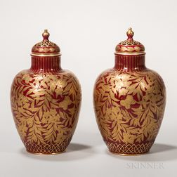 Pair of Crown Derby Porcelain Sang de Boeuf Vases and Covers