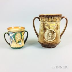 Two Royal Doulton British Royal Commemorative Ceramic Loving Cups