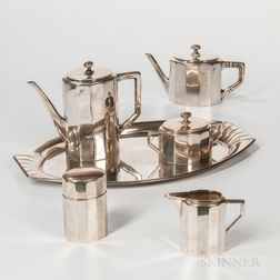 Six-piece German .800 Silver Tea and Coffee Service