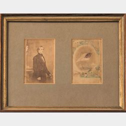 Framed Carte-de-visite of Jefferson Davis from the Brady Gallery