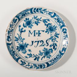 Floral-decorated Dated Tin-glazed Earthenware Plate