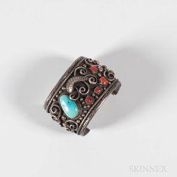 Large Navajo Silver Cuff Bracelet