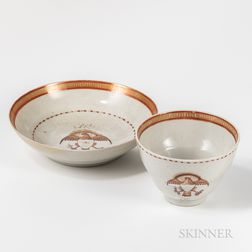 Eagle-decorated Export Porcelain Cup and Saucer