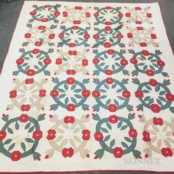 Two Appliqued Cotton Floral Medallion Quilts