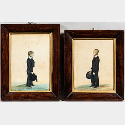 Pair of Watercolor Portraits of Robert and William Grundy