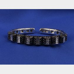 18kt White Gold, Black and Colorless Diamond Bangle Bracelet