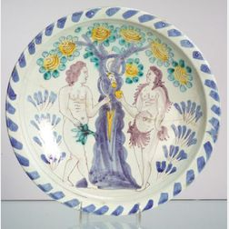 Bristol Delftware Blue Dash Adam and Eve Charger