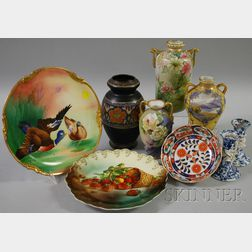 Nine Assorted Decorated Porcelain Table Items