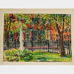 Charles Peter Demetropoulos (Greek/American, 1912-1976)      Beacon Hill, Louisburg Square, Boston