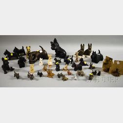 Collection of Metal Scottie Dog Figural Items
