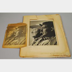 1952 Ted Williams and Jim Thorpe Portrait Photograph with Autographed Mat