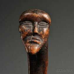 Carved Wood Effigy Staff