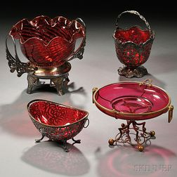 Four Metal-mounted Ruby Glass Items