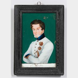 Small Reverse-painting on Glass of Napoleon