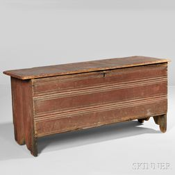 Red-painted Pine Crease-molded Six-board Chest