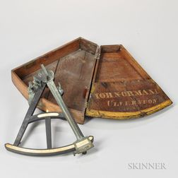 19th Century Octant in a Signed Oak Case