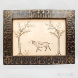 American School, Early 20th Century      Calligraphic Pen and Ink Picture of a Dog