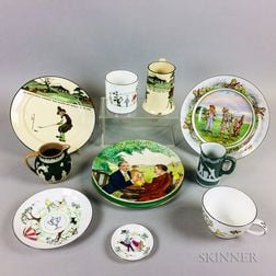 Ten Transfer-decorated Ceramic Sporting Items