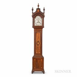 Aaron Lane Carved and Inlaid Walnut Tall Clock