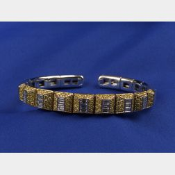 18kt White Gold, Yellow and Colorless Diamond Bangle Bracelet