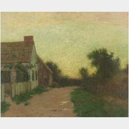 Bruce Crane (American, 1857-1937)  Sunset Scene with a Cottage