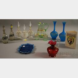 Eleven Pieces of Late Victorian Art Glass, a Phillips Brooks Portrait Tray and   Related Book