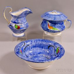 Three-piece Peafowl-decorated Blue Spatterware Chamber Set