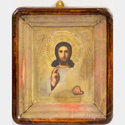 Framed Brass Riza Icon Depicting Christ Pantocrator