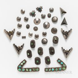 Forty-eight Navajo and Zuni Buttons and Tips