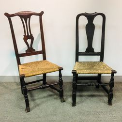 Two Country Brown-painted Spanish-foot Side Chairs