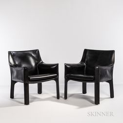 Two Mario Bellini for Cassina Model 414 CAB Lounge Chairs