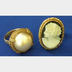 14kt Gold and Mabe Pearl Ring and a Cameo Ring.