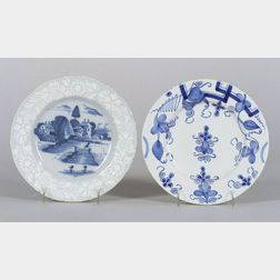 Two Delftware Blue and White Plates