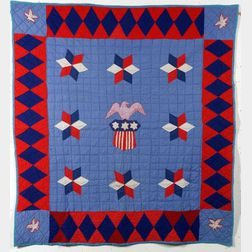 Pieced and Appliqued Cotton Patriotic World War II Quilt