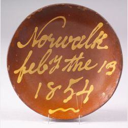 """Slip-Decorated """"Norwalk Pottery Redware Plate"""